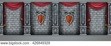Ancient Brick Wall Seamless Background, Vector Stone Castle Interior, Marble Pillars, Medieval Shiel