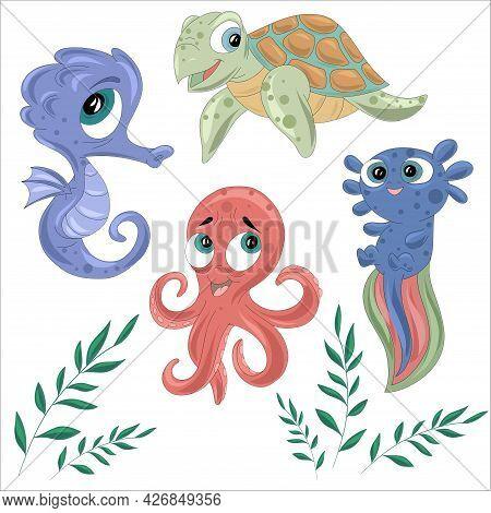 Marine Animals Isolated On White Background. Octopus, Seahorse, Turtle And Cuttlefish. Vector Illust