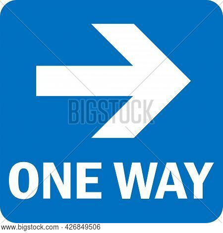 One Way Right Arrow Sign. White On Blue Background. Road Signs And Symbols.