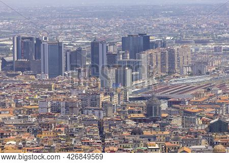 Naples, Italy - June 27, 2021: Aerial View Of The City With Centro Direzionale Di Napoli.the Centro