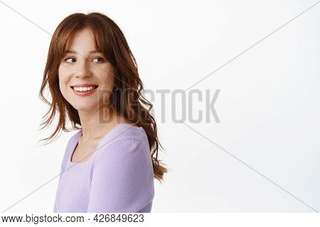 Portrait Of Stylish Natural Young Woman With Freckles, White Smile, Turn Head And Look Behind Should