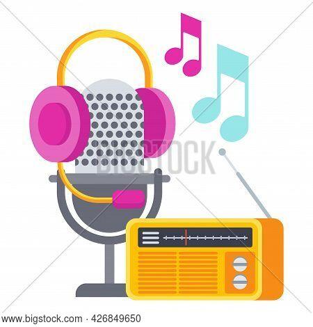 Radio Ads Icon. Radio Microphone And Radio Receiver