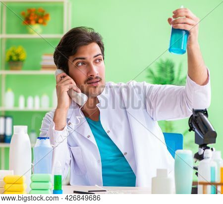 Chemist testing soap in the lab