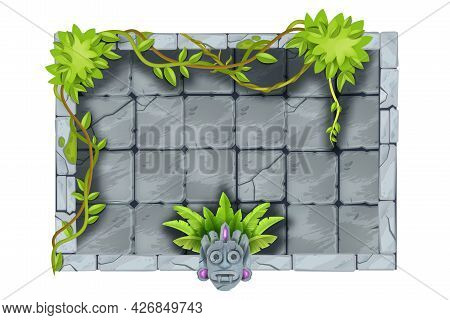 Stone Jungle Game Frame, Vector Ui Rock Sign Board, Tropical Plant, Liana, Vine, Aztec Tiki Mask, Ro