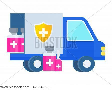 Vaccine Delivery Plan Icon. Truck Carries The Vaccine
