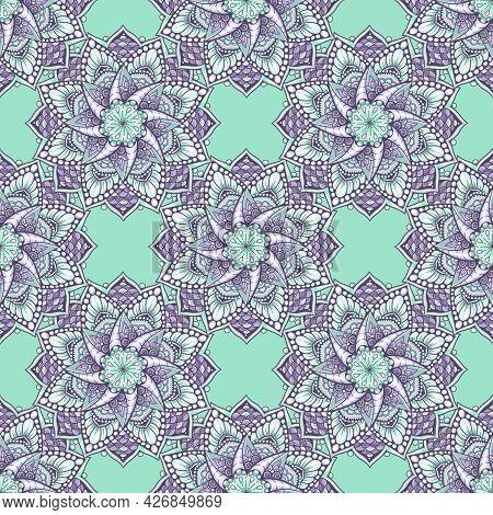 Mandala Seamless Pattern. Boho Decorative Element. Hand Drawn Background. Islam, Arabic, Indian, Ott