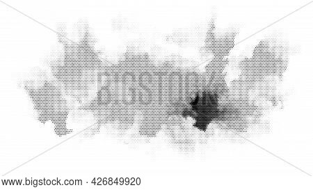 Abstract Grunge Halftone Background. Watercolor And Black Ink Smears