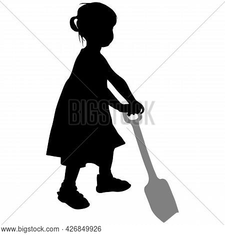 Black Silhouette Of Little Girl In Dress And Sandals With Shovel In Her Hands