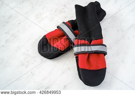 Dog Boots On A White Marble Background.