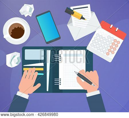 Businessman Writes A Daily Routine. Schedule And Planning