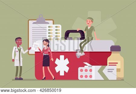 Healthcare Female Administrator Managing Doctor Staff, Hospital Community And Personnel. Clinic Mana