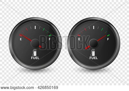 Vector 3d Realistic Black Circle Gas Fuel Tank Gauge, Oil Level Bar Icon Set Isolated. Full And Empt
