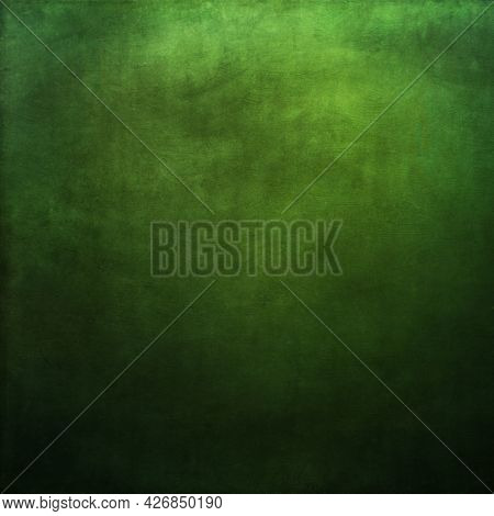 Strongly Textured Vivid Green Background With Spotlight.
