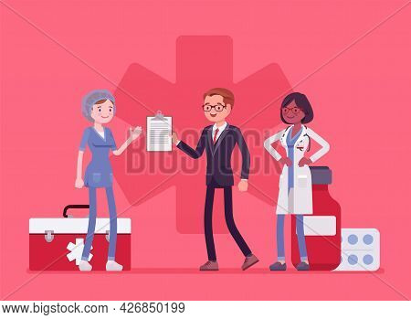 Healthcare Male Administrator Managing Doctors, Monitoring Hospital. Clinic Assistant Busy To Check