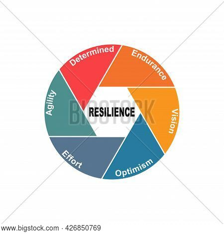 Diagram Concept With Resilience Text And Keywords. Eps 10 Isolated On White Background