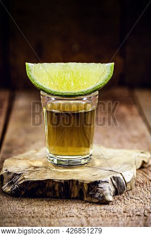Glass Of Alcoholic Drink With Lemon, Distilled From Sugar Cane, Called In Brazil