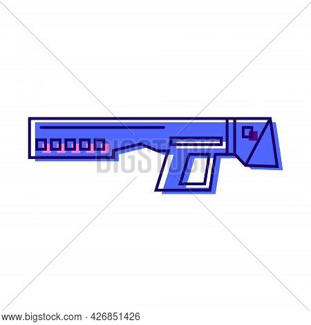 Cyberpunk Gun Color Icon. Futuristic Weapon. Science Fiction, Game, Confrontation Between Humans And