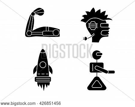 Cyberpunk Glyph Icons Set. Futuristic Robot And Spaceship. Exoskeleton And High Tech Technology. Hea
