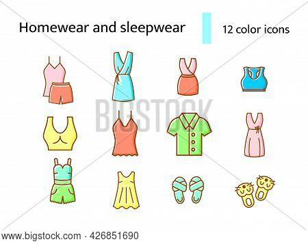 Cozy Garment Color Flat Icons Set. Comfortable Homewear And Sleepwear. Bathrobe, Domestic Dress. Sli