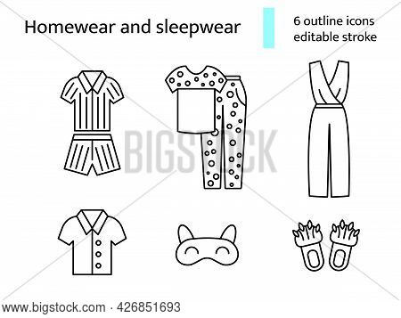 Suit Homewear And Sleepwear Outline Icons Set. Comfortable Clothes. Comfy Garment. Customizable Line