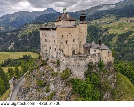 Drone View At Tarasp Castle In The Swiss Alps