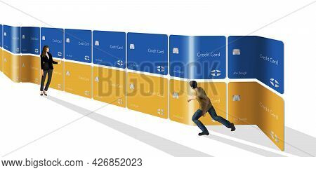 People Are Seen With A Wall Of Generic Credit Cards In This 3-d Illustration About Navigating The Cr