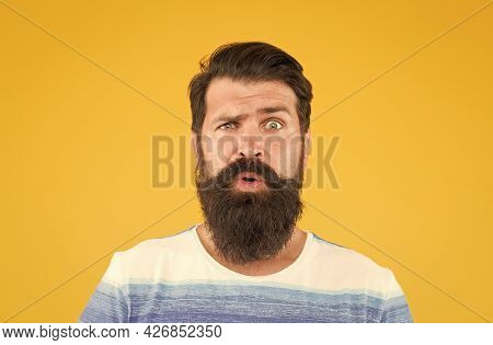 Hair Care And Skincare. Amazed Brutal Bearded Man On Yellow Backdrop. Handsome Confident Man Has Per