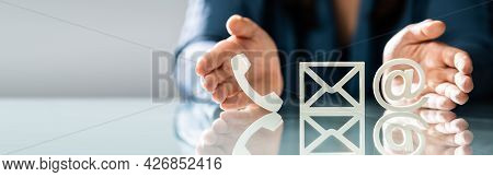 Contact Us Methods Icons. Email, Post And Phone