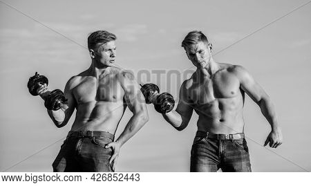 Strong And Fit Men Bodybuilders. Twins Muscular Men. Athletic Man Sexy Body. Sporty Muscular Guys Wi
