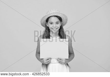 Effective Advertising. Girl Straw Hat. Advertisement Concept. Promoting Tourism. Bright Advertisemen
