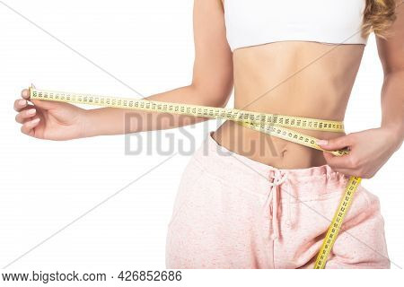 Woman With Measuring Tape. Weight Loss Concept. Woman Take Waist Scale Tape Show Her Thin Waist. Sli