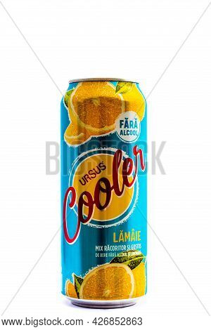 Can Of Ursus Cooler Beer Isolated On White. Illustrative Editorial Photo Shot In Bucharest, Romania,