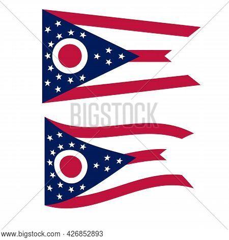 Ohio State National Flag. Ohio Flag On White Background. Ohio State Sign. Flat Style.