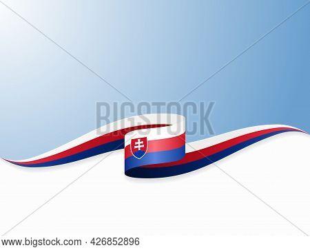 Slovakian Flag Wavy Abstract Background. Vector Illustration.
