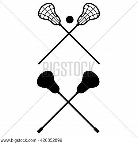Lacrosse Sticks Crossed On White Background. Lacrosse Stick And Ball Sign. Lacrosse Symbol. Flat Sty