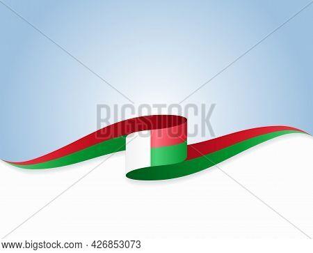 Madagascar Flag Wavy Abstract Background. Vector Illustration.