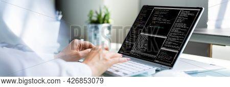 Programmer Woman Coding. Girl Coder And Web Developer