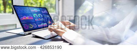 Kpi Dashboard Data Analytics On Business Laptop