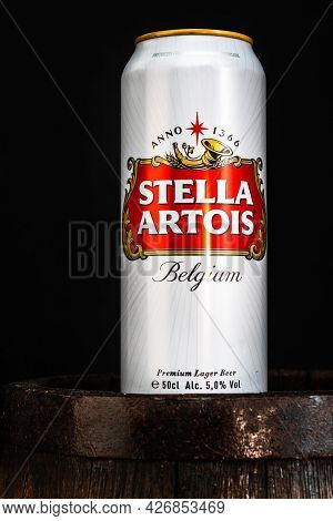 Can Of Stella Artois Beer On Beer Barrel With Dark Background. Illustrative Editorial Photo Buchares