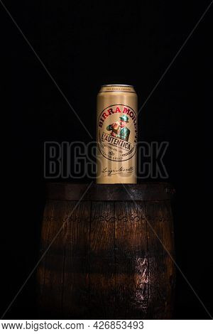 Can Of Birra Moretti Beer On Wooden Barrel With Dark Background. Illustrative Editorial Photo Buchar