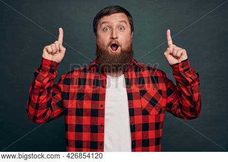 Surprised, Wondered Handsome Bearded Guy With Stylish Haircut, Wear Red Checkered Shirt, Drop Jaw Im
