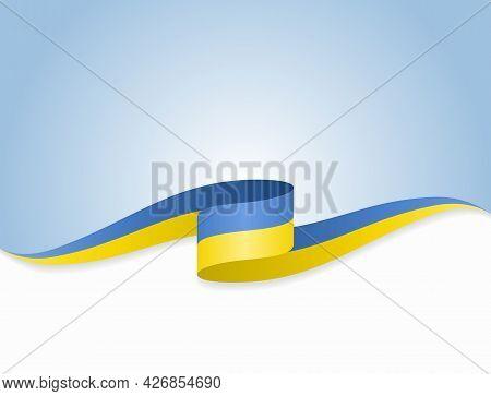 Ukrainian Flag Wavy Abstract Background. Vector Illustration.
