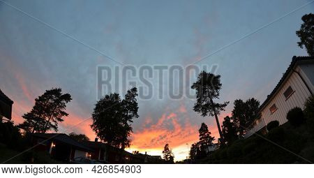 Astronomical summer in Scandinavia. Midnight sky during the solstice. Norway.