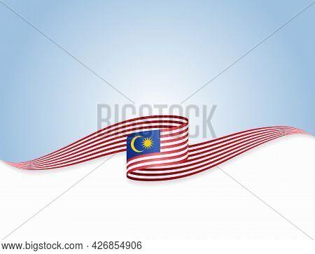 Malaysian Flag Wavy Abstract Background. Vector Illustration.