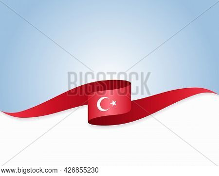 Turkish Flag Wavy Abstract Background. Vector Illustration.