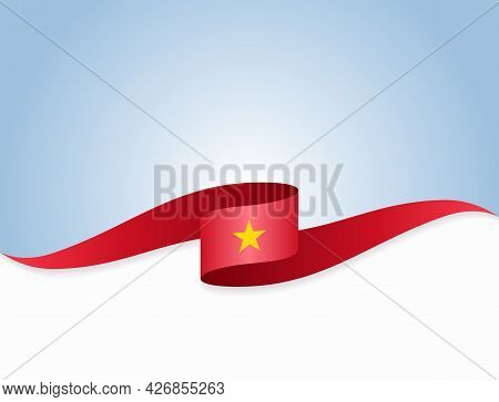 Vietnamese Flag Wavy Abstract Background. Vector Illustration.