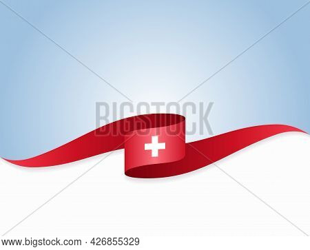 Swiss Flag Wavy Abstract Background. Vector Illustration.