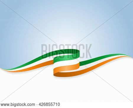 Irish Flag Wavy Abstract Background. Vector Illustration.