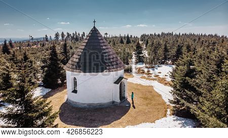 Aerial View Of Baroque Chapel Of The Visitation Of Virgin Mary,kunstat Chapel, Located In Eagle Moun