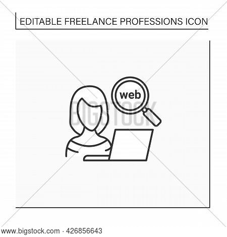 Web Researcher Line Icon. Obtaining Information From Internet. Research Fresh, New Knowledge. Freela